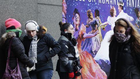 """People wait outside the Broadway Theatre in New York City to buy tickets for the show """"Cinderella"""" on January 8."""