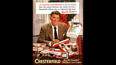 Ronald Reagan, then a popular actor, is seen in an early 1950's  holiday advertisement for Chesterfield cigarettes.