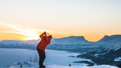 """Golfers in search of an alternative winter break might want to consider a trip to Swedish Lapland, where they can play snow golf in the picturesque surroundings of the<a href=""""http://en.bjorkliden.com/"""" target=""""_blank"""" target=""""_blank""""> Björkliden mountain resort</a>."""