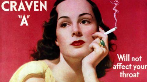 """Some early smoking advertisements, like this one for Craven """"A"""" cigarettes, claimed their products wouldn't affect the throat."""
