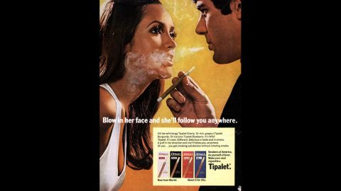An ad for Tipalet cigarettes claims its smoke can make men more attractive to women.