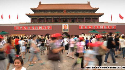 Tiananmen Square bustle in Beijing