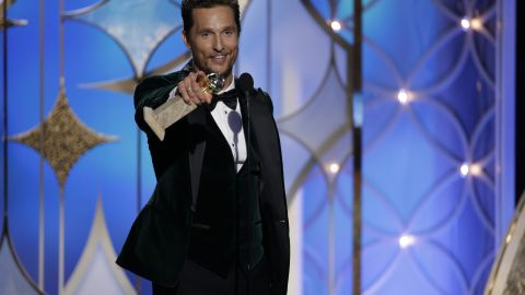 """Matthew McConaughey accepts the award for best actor in a drama for his performance in the film """"Dallas Buyers Club."""""""