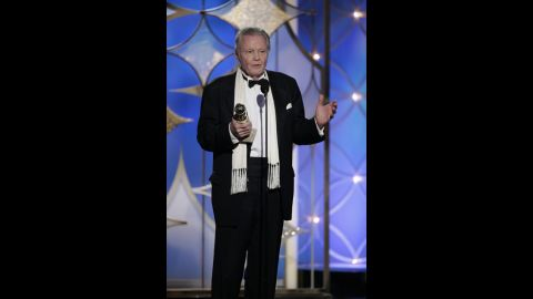 """Jon Voight, who stars in the Showtime series """"Ray Donovan,""""  accepts the award for best supporting actor in a series, miniseries or TV movie."""