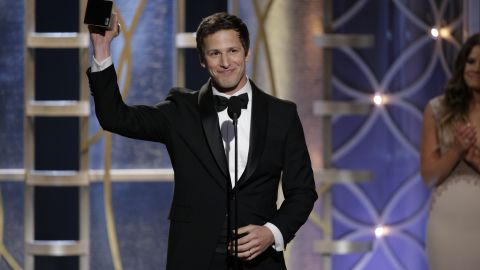 """Andy Samberg accepts the award for best actor in a comedy TV series. His show """"Brooklyn Nine-Nine"""" also won best series in its category."""