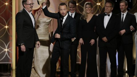 """Vince Gilligan, left, and the cast of """"Breaking Bad"""" accept the award for best TV series in the drama category."""
