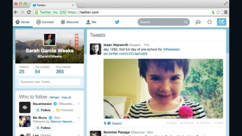 """Twitter's new Web design includes a """"compose"""" box in the left rail next to the user's feed."""