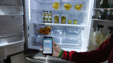 """<a href=""""http://www.cnn.com/2014/01/17/tech/gaming-gadgets/attack-appliances-fridge/"""">A smart refrigerator </a>on display at the International Consumer Electronics Show this year in Las Vegas. The fridge is a favorite item among connected-home advocates. For example, it can detect you're at the grocery store and text you that you're out of milk."""