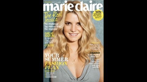 """Jessica Simpson appeared with air-dried hair and wearing no makeup for the May 2010 cover of Marie Claire. Simpson told the magazine, """"I don't have anything to prove anymore. What other people think of me is not my business."""""""