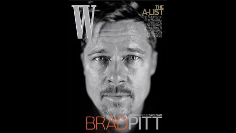 """Brad Pitt was featured unretouched on the cover of W Magazine's February 2009 issue. Pitt personally requested to be photographed by Chuck Close, who is famous for his extremely detailed portraits, and opted for no retouching.""""You can't be the fair-haired young boy forever,"""" Close said. """"Maybe a photograph of him with his crow's-feet and furrowed brow is good for him."""""""