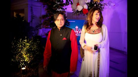 Tharoor and his wife attend a function at a high commissioner's residence to celebrate the wedding of Britain's Prince William and Katherine Middleton on April 29, 2011, in New Delhi.