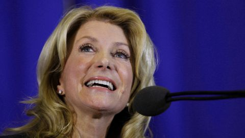 Wendy Davis formally announces her run to be Texas' next governor on October 3, 2013, in Haltom City, Texas.