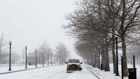 A truck plows an access road to the Empty Sky Memorial at Liberty State Park in Jersey City, New Jersey on January 21.