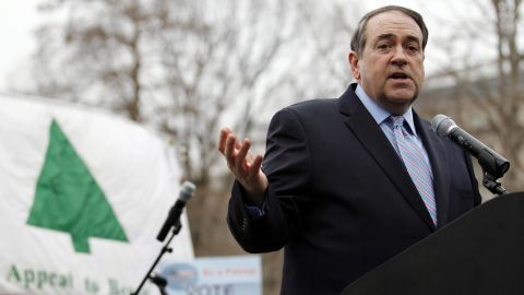 """Former Arkansas Gov. Mike Huckabee speaks during a anti-abortion rally at Lafayette Park in Washington on January 22,  2012. """"In past years, our rally has gone on for two or three hours and people lost interest,"""" Monahan says. So, instead of boring speeches, the rally this year will feature a live concert by Matt Maher, a Catholic singer-songwriter with a huge following among young Christians."""