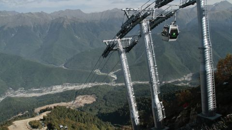 This September 2010 photo shows ski facilities under construction in Krasnaya Polyana near Sochi.