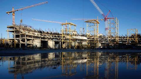 Central stadium is under construction in Sochi's Olympic Park in December 2011.