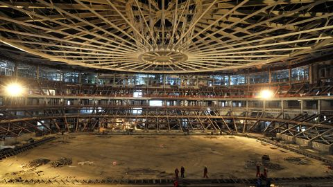 """Construction continues on Sochi's """"Iceberg"""" Skating Palace in February 2012."""