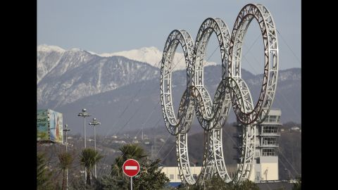 The Olympic rings for the 2014 Winter Olympics are installed in Sochi on September 25, 2012.