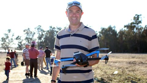 """Chris Anderson, founder of 3D Robotics, holds the company's <a href=""""http://3drobotics.com/iris/"""" target=""""_blank"""" target=""""_blank"""">new Iris drone</a>. The device is designed for aerial photography and will cost $750 when it is released in February."""