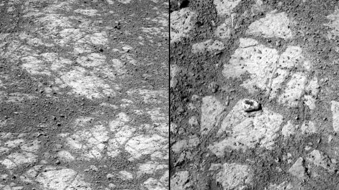 Scientists are baffled by the sudden appearance of a jelly doughnut-like rock that the Opportunity rover spotted in January 2014. These are images of the same location; the rock on the right was not there 12 days earlier. Researchers now believe the rover's wheels flicked the rock into its current spot.