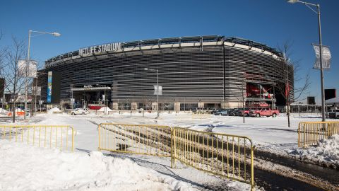 """MetLife Stadium, which will host Superbowl XLVIII next month, is seen on January 22, 2014 in East Rutherford, New Jersey. In what is being called the first ever """"cold weather superbowl, """" the Denver Broncos and Seattle Seahawks will face off in front of over 80,000 fans on February 2. Cold weather welcome kits have been produced for fans that will include earmuffs, hats, mittens, hand warmers, lip balm, and tissues, among other items. After a snowstorm hit the New York region with a foot of snow earlier this week, the NFL and local authorities are doing everying possible to prepare for a snowstorm on the day of the game. (Photo by Andrew Burton/Getty Images)"""