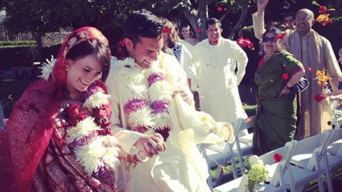 """<a href=""""http://www.elle.com/life-love/sex-relationships/kelsey-isaac-weddings#slide-4"""" target=""""_blank"""" target=""""_blank"""">Tessa and Ashoke</a>: August 3, 2013, in Sonoma, California, at Cornerstone Gardens"""