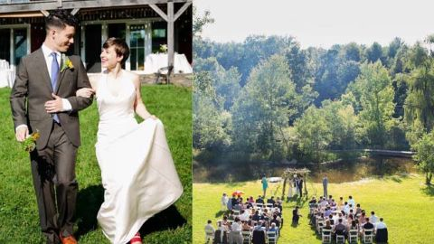 """<a href=""""http://www.elle.com/life-love/sex-relationships/kelsey-isaac-weddings#slide-9"""" target=""""_blank"""" target=""""_blank"""">Maggi and Alex</a>: June 29, 2013, at a converted barn next to a pond in Saugerties, New York"""
