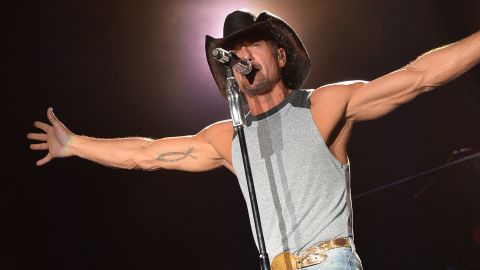 """Country star Tim McGraw<a href=""""http://www.people.com/people/article/0,,20669193,00.html"""" target=""""_blank"""" target=""""_blank""""> said in an interview in 2013</a> that he replaced drinking whiskey with working out to clean his life up."""