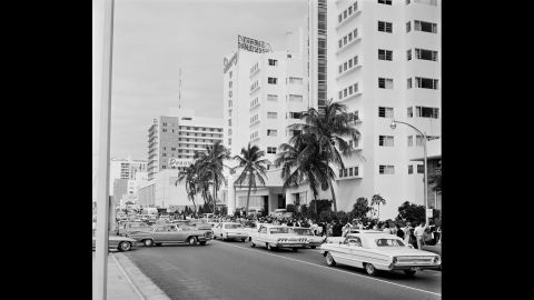 """Lines form down the street from the Deauville Hotel in Miami Beach, Florida, as fans wait to see The Beatles on """"The Ed Sullivan Show"""" on February 16, 1964. It was a week after the band's first appearance on the show."""