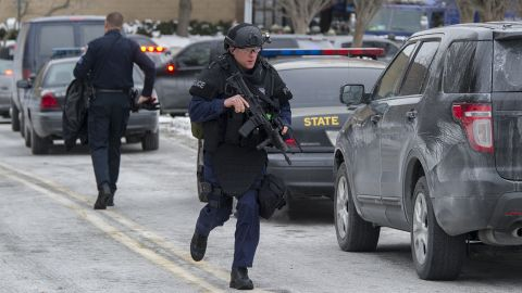 Maryland State Police patrol the Columbia Mall after a fatal shooting on January 25, 2014, in Columbia, Maryland.