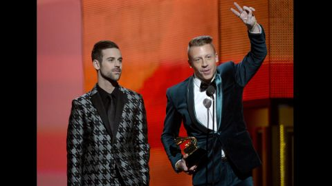 """<strong>Best new artist: </strong>Macklemore & Ryan Lewis. The duo also won best rap album for """"The Heist"""" and best rap song and best rap performance for """"Thrift Shop."""""""