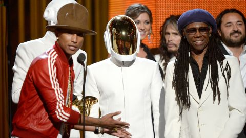 LOS ANGELES, CA - JANUARY 26:  (L-R) Musicians Pharrell Williams, Thomas Bangalter and Guy-Manuel De Homem-Christo of Daft Punk, and Nile Rodgers accept the Record of the Year award for 'Get Lucky' onstage during the 56th GRAMMY Awards at Staples Center on January 26, 2014 in Los Angeles, California.  (Photo by Kevork Djansezian/Getty Images)