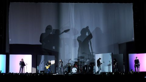Nine Inch Nails is joined by Dave Grohl, Lindsey Buckingham and members of Queens of the Stone Age to close out the 56th annual Grammy Awards in Los Angeles on Sunday, January 26.