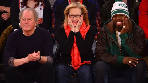 """We had no idea Meryl Streep and 50 Cent had a budding friendship until the rapper shared photos of himself hanging out with the Oscar winner at an NBA game between the Los Angeles Lakers and the New York Knicks. Not only were the two clearly having a ball courtside, <a href=""""http://bleacherreport.com/articles/1937415-50-cent-sits-by-meryl-streep-hangs-out-with-kobe-bryant-at-lakers-knicks-game"""" target=""""_blank"""" target=""""_blank"""">but they seemed chummy off the court as well as they ran into Lakers star Kobe Bryant</a>."""