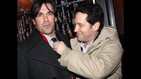"""Hollywood hunks Jon Hamm, left, and Paul Rudd have a friendship that's lasted for years. Their bond stretches all the way back to high school, and Hamm still calls Rudd <a href=""""https://www.cnn.com/2014/01/28/showbiz/gallery/surprising-celebrity-friendships/tvline.com/2011/06/20/emmy-jon-hamm-career-don-draper-comedy/"""" target=""""_blank"""">one of his oldest pals in Hollywood.</a>"""