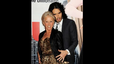 """Helen Mirren and Russell Brand have a rather, er, intimate friendship. The two """"Arthur"""" co-stars get along well off-set, too, <a href=""""http://www.nydailynews.com/entertainment/tv-movies/lather-helen-mirren-caught-giving-russell-brand-bath-set-arthur-article-1.201435"""" target=""""_blank"""" target=""""_blank"""">as this photo of Mirren</a> giving Brand a bath in 2010 shows. """"We are best ... we are really close friends,"""" Mirren told <a href=""""http://www.usmagazine.com/celebrity-body/news/helen-mirren-im-going-to-frame-russell-brands-underwear-2011241"""" target=""""_blank"""" target=""""_blank"""">Us Weekly</a> in 2011."""