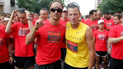 """Matthew McConaughey, left, has stood by his friend Lance Armstrong as he's faced backlash from his 2013 doping scandal. The two Texas natives have known each other for years, and <a href=""""http://www.mtv.com/news/articles/1700519/lance-armstrong-scandal-matthew-mcconaughey-comment.jhtml"""" target=""""_blank"""" target=""""_blank"""">McConaughey admitted that his first reaction</a> was to be angry at and sad for his pal. """"I had a part of me that took it kind of personally,"""" McConaughey said, but he soon realized """"that those of us that took that personally, like, 'Oh, he lied to me,' it's not true. ... Where I am now is I've put myself out of the way and I am happy for this guy, who has now chosen to re-enter this new chapter of his life a truly free man."""""""