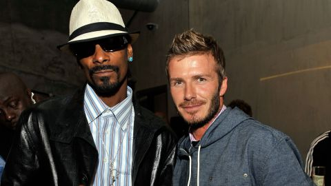 """Snoop Dogg, left, and David Beckham are such good friends, <a href=""""http://www.nme.com/news/snoop-dogg/56893#if5IJwSRhRekX9sO.99"""" target=""""_blank"""" target=""""_blank"""">the rapper will preview his songs</a> for the British athlete. """"When I make my records, he's one of the first people I send the record to before it's done, even before the label get it,"""" he's said."""