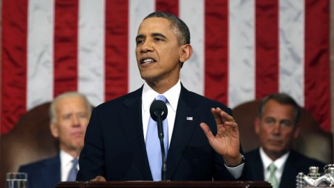 President Barack Obama delivers the State of Union address before a joint session of Congress in the House chamber Tuesday, Jan. 28, 2014, in Washington, as Vice President Joe Biden, and House Speaker John Boehner of Ohio, listen. (AP Photo/Larry Downing, Pool)