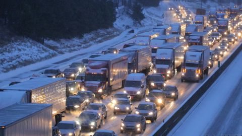 """Officials said that 1,254 accidents were reported in Georgia's snowstorm. <a href=""""http://ireport.cnn.com/docs/DOC-1079207"""">Jay Hayes</a> shot this photo of I-285 around 5 p.m. Tuesday. """"I've lived in Atlanta since 2001, and I have never come across a situation where the city was so unprepared,"""" he said."""