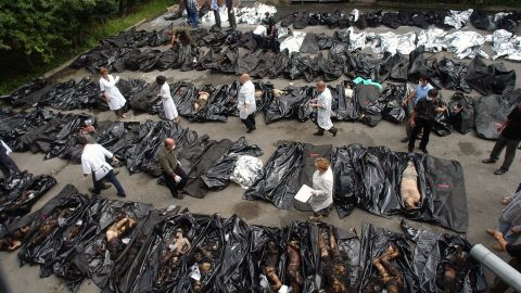 People look for relatives among the dead bodies of the Beslan victims in Vladikavkz, North Ossetia.