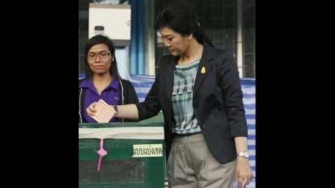 Thai Prime Minister Yingluck Shinawatra casts her ballot on February 2.