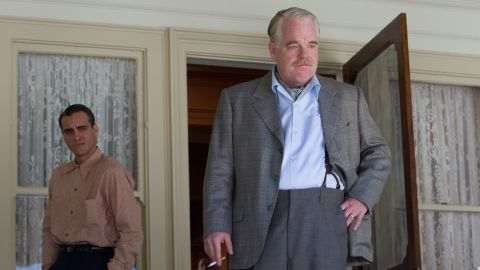 """Hoffman appears with Joaquin Phoenix in """"The Master"""" (2012). He received Oscar and Golden Globe nominations in the supporting actor category for his work in the film."""