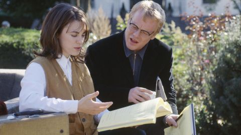 """Hoffman appears with Rebecca Pidgeon in 2000's """"State and Main."""" He plays a screenwriter suffering from writer's block."""
