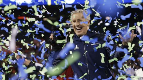 Seattle Seahawks head coach Pete Carroll celebrates his team's remarkable 43-8 win over the Denver Broncos in Super Bowl XLVIII.