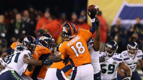 Manning is about to be intercepted in the second quarter with MVP Malcolm Smith returning for 69 yards to score the second touchdown for Seattle.