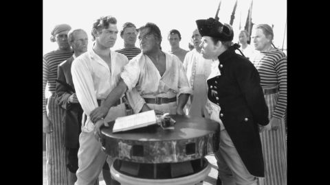"""<strong>""""Mutiny on the Bounty"""" (1936):</strong> Clark Gable was in the best picture winner the next year as well, playing Fletcher Christian in the 1935 version of """"Mutiny on the Bounty."""" Charles Laughton plays Captain Bligh."""