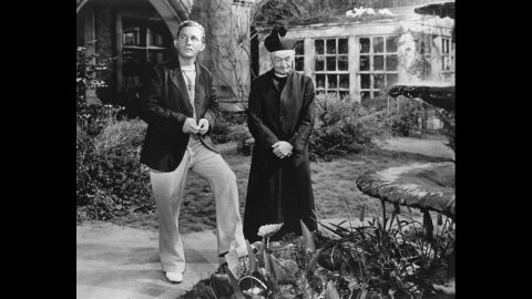 """<strong>""""Going My Way"""" (1945):</strong> Hollywood's favorite crooner became its favorite priest. Bing Crosby, left, won the best actor award as Father Chuck O'Malley in """"Going My Way."""" He encountered resistance from a crusty old priest (Barry Fitzgerald) when he tried to help an impoverished church parish."""