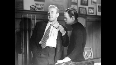 """<strong>""""On the Waterfront"""" (1955):</strong> Marlon Brando, right, went up against corrupt union boss Lee J. Cobb in  Elia Kazan's """"On the Waterfront."""" In one of moviedom's most famous scenes that inspired countless future actors, Brando confronts his brother, a union lawyer played by Rod Steiger, in the back seat of a car: """"I coulda been a contender. I coulda been somebody, instead of a bum, which is what I am."""""""