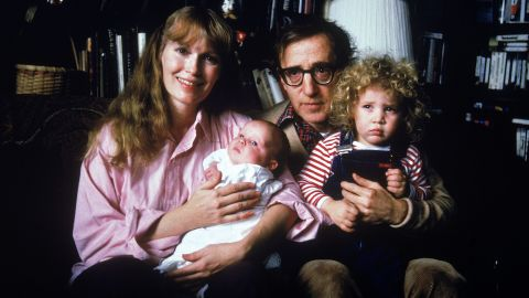 (clockwise fr. top L) Actress Mia Farrow w. longtime boyfriend, director Woody Allen, their son Satchel and adopted daughter Dylan.  (Photo by David Mcgough/DMI/Time Life Pictures/Getty Images)